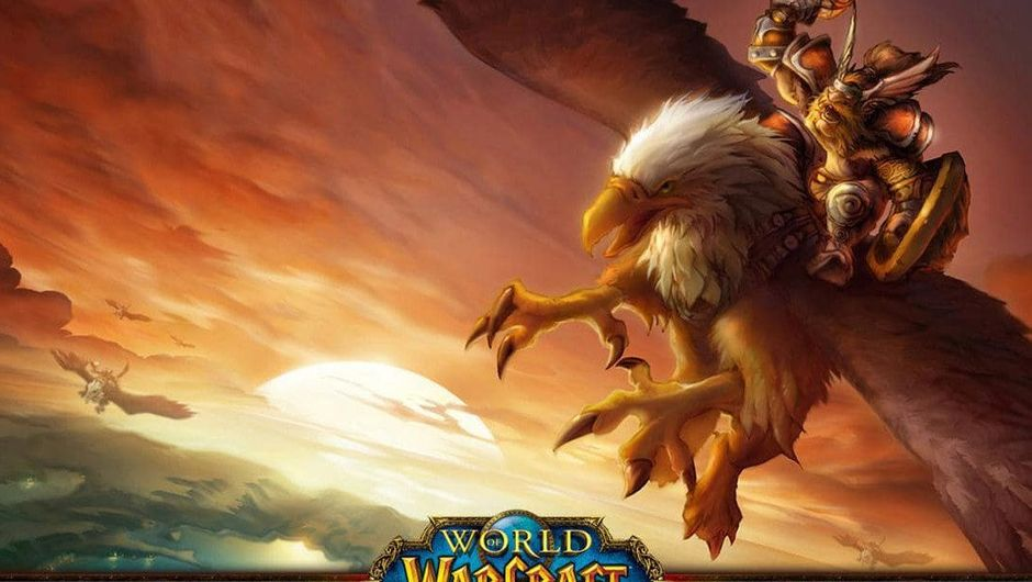 A dwarf is flying on a gryphon in World of Warcraft.
