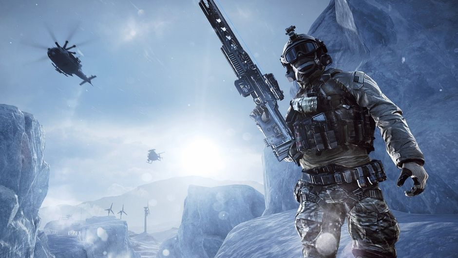 screenshot from battlefield 4 showing a soldier on snowy mountain