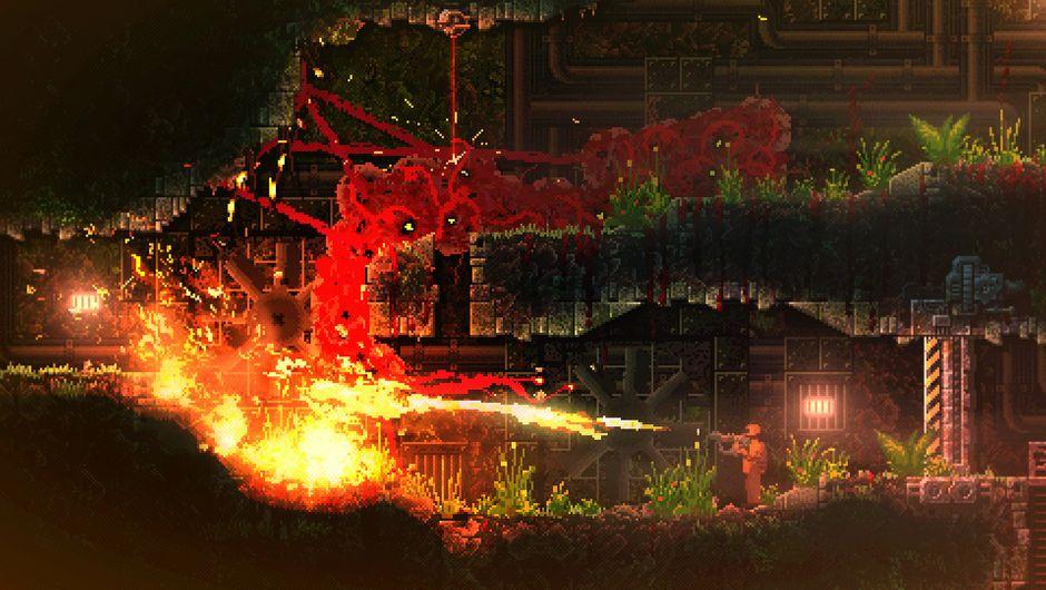 A flamethrower wielding enemy in Carrion.
