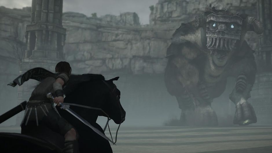 A horseman with a sword out riding towards a huge stone creature