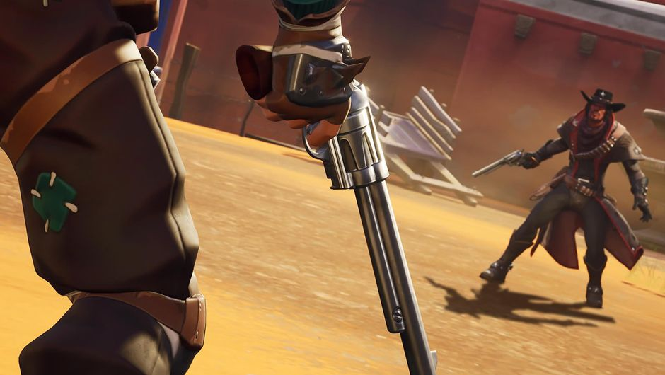 Two cowboys facing off in Fortnite's Wild West LTM