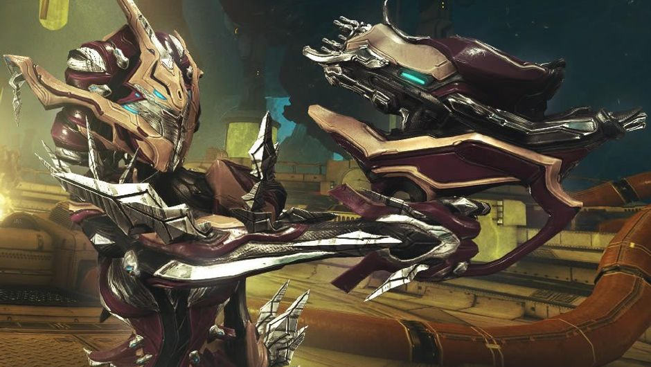 Cybernetic looking warframe from Digital Extremes' game Warframe