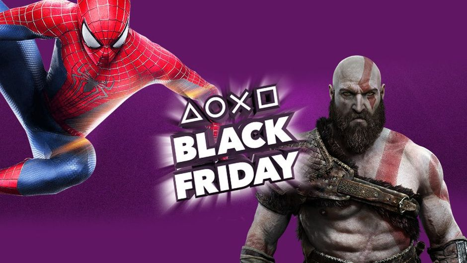 picture showing Spiderman and Kratos with black friday logo between them