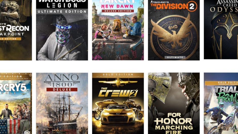 screenshot showing the list of games for uplay plus service