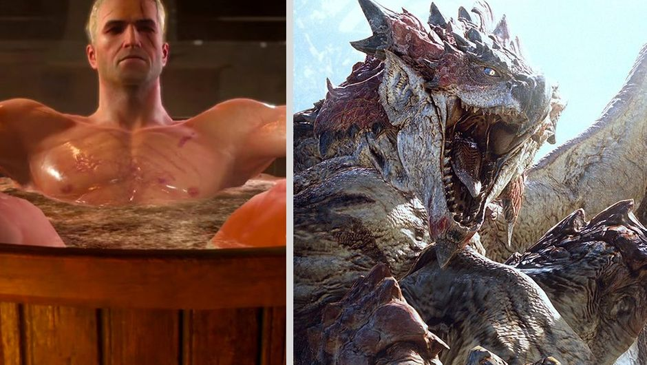 picture showing geralt in a bathtub and moster from mhw