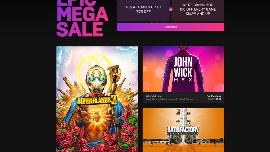 screenshot of epic games store with discounts and games