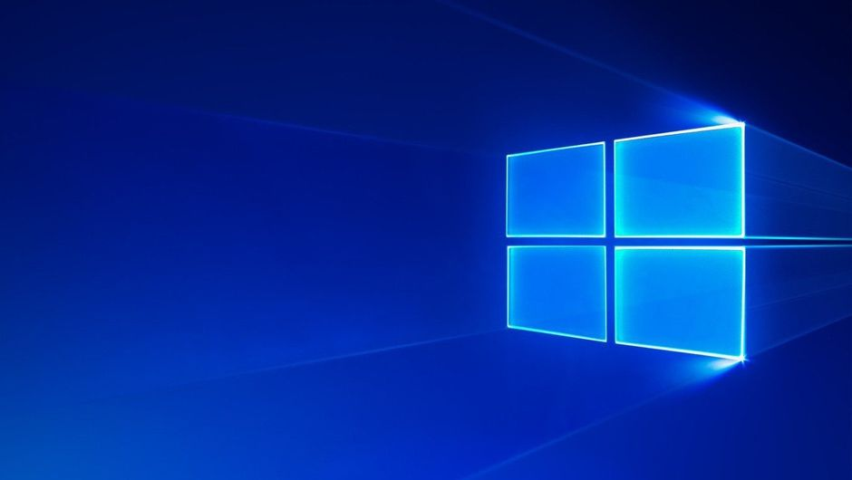 Windows 10 wallpaper featuring Windows 10 logo on a blue background