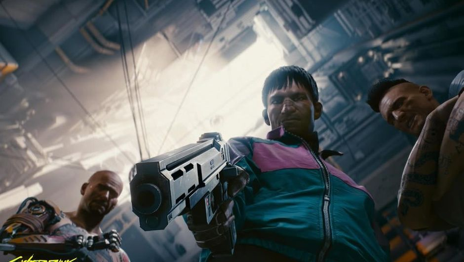Three shady looking Cyberpunk 2077 characters with weapons