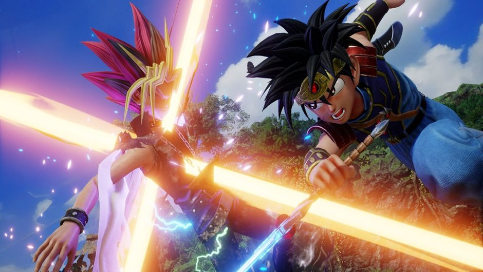 Dragon Quest's Dai attacking Yami Yugi in Jump Force.