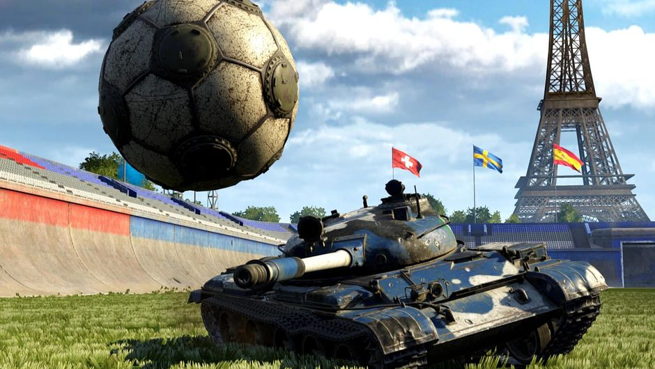 Tank shooting at a ball in World of Tanks' mode Tank Football