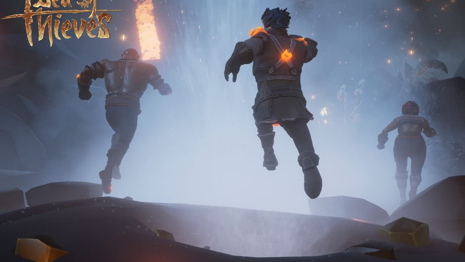 Picture of some people jumping over geysers in Forsaken Shores