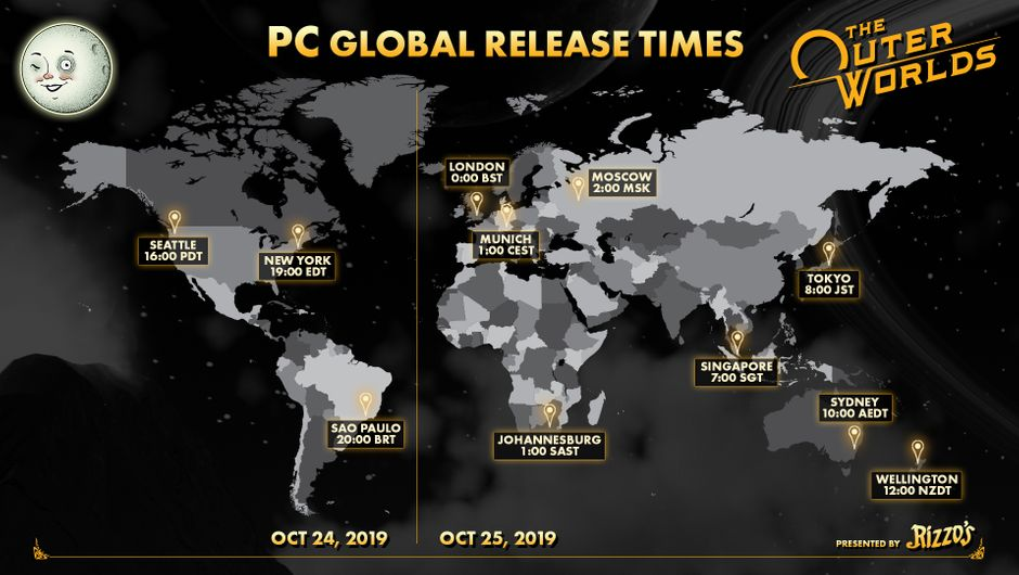 The Outer Worlds' PC release times