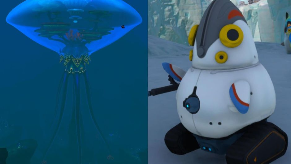 Vent Forest creature and Spy Pengling robot from Subnautica: Below Zero