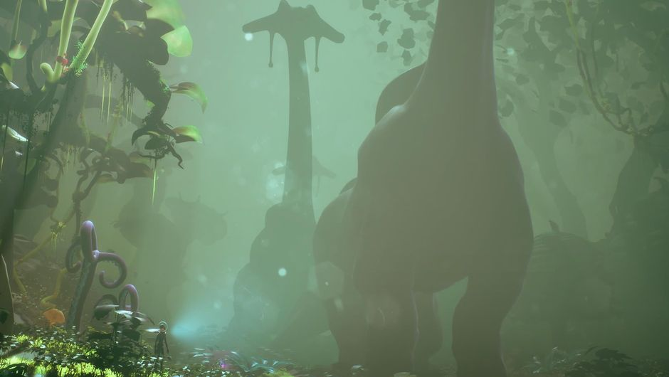 Large, dinosaur looking creatures in a misty forest from Planet Alpha