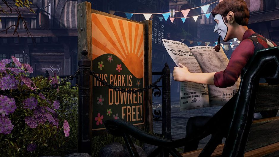 A man with a mask reading a newspaper in We Happy Few