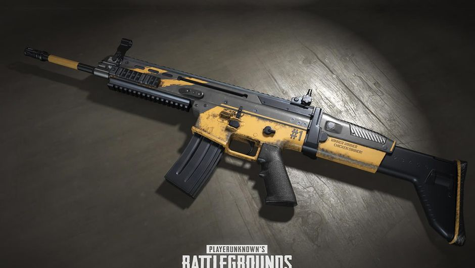 A gun with several yellow components from the game PUBG
