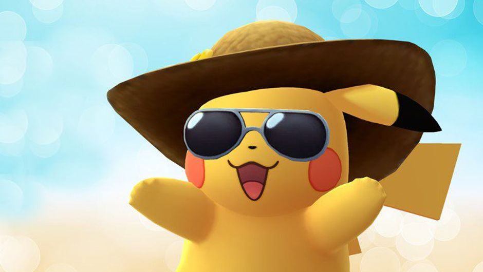 Pikachu wearing a new outfit that includes a straw hat and glasses