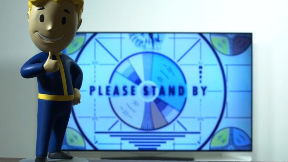 "Vault Boy is standing in front of a screen that simply says ""please stand by"""