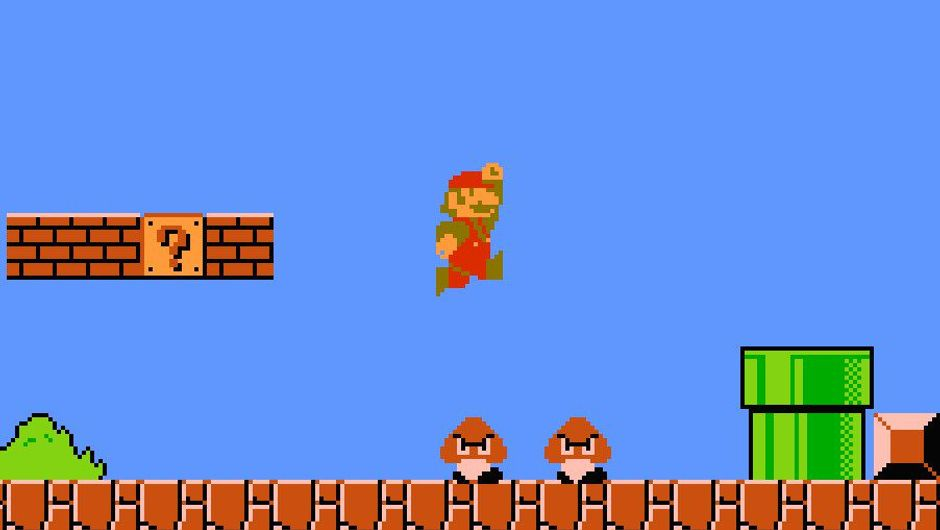 Picture of Mario about to squash two Gumbas in Super Mario Bros
