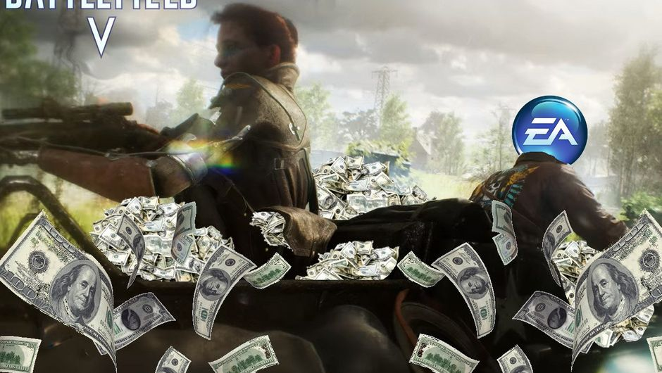 Mock image of a part of Battlefield V trailer showing the characters driving away with money