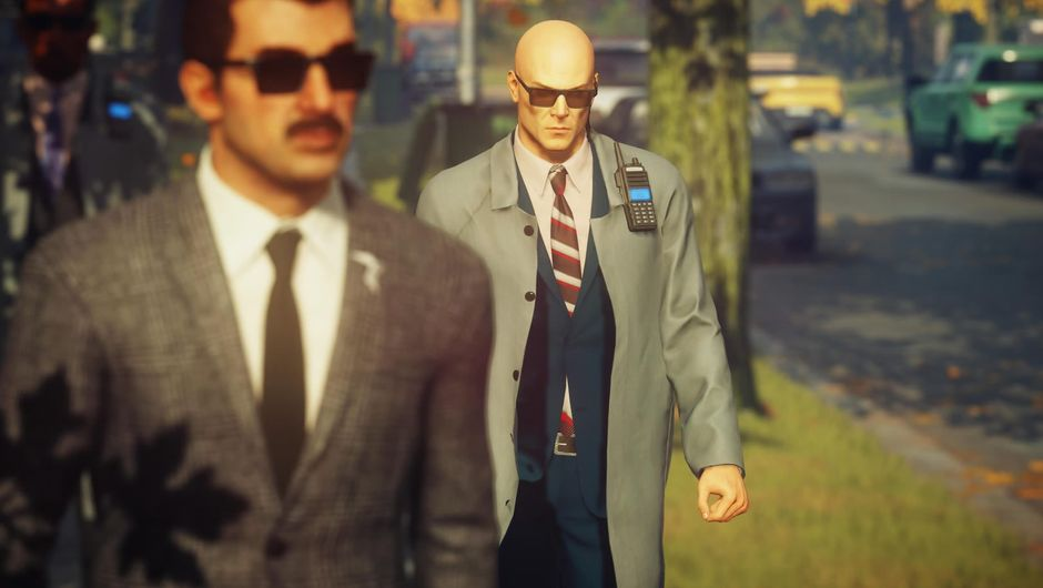 Agent 47, Hitman 2's protagonist following a person