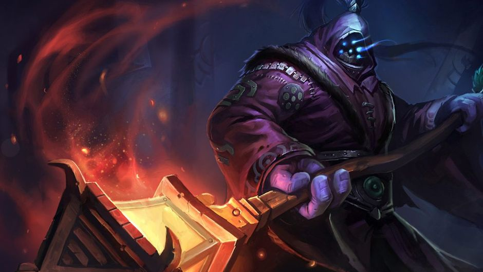 Splash art for Jax from League of Legends. His outfit is violet and his weapon is a lamp post.