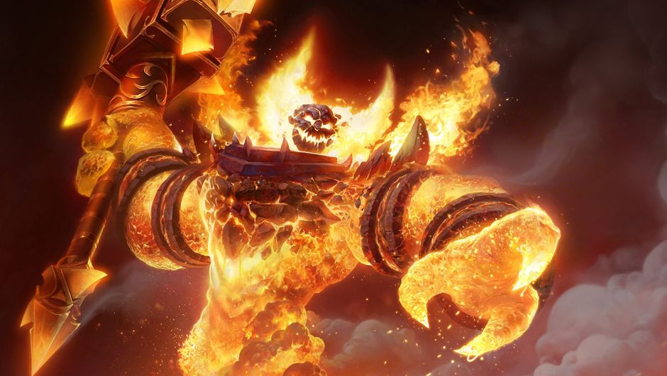 WoW Classic screenshot showing a fire demon holding his hammer