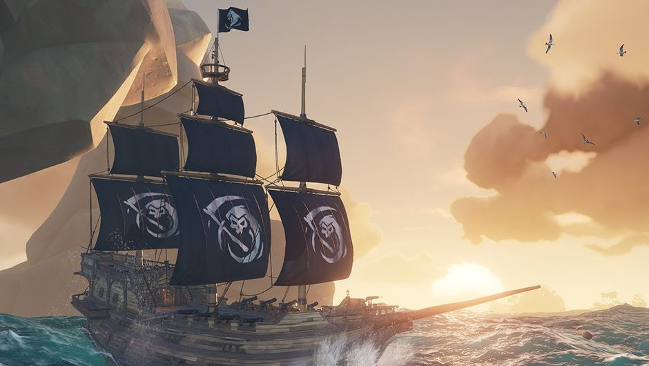 Sea of Thieves screenshot showing a ship with black sails