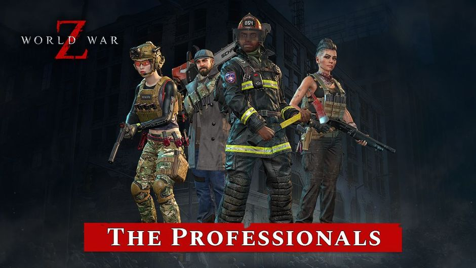 Four World War Z characters standing with weapons
