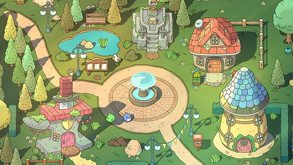 The Swords of Ditto RPG screenshot showing a tiny village with a fountain in the middle.