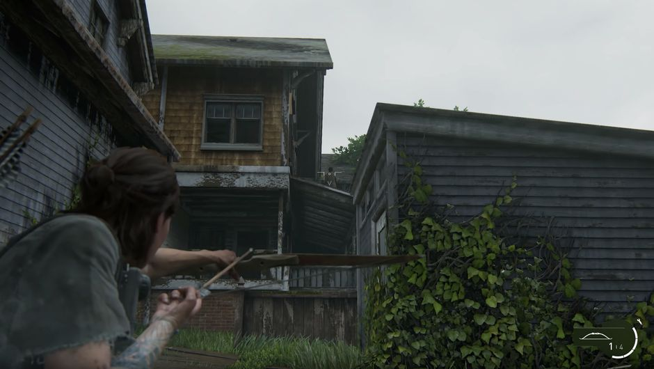 The Last of Us Part II screenshot showing ellie with a bow and arrow