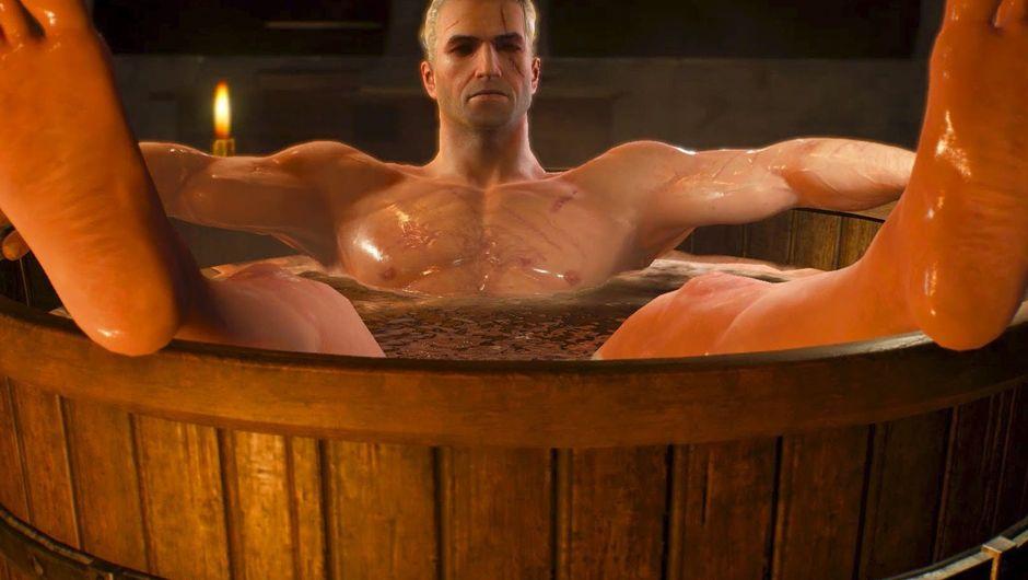 witcher 3 screenshot showing geralt in a bathtub