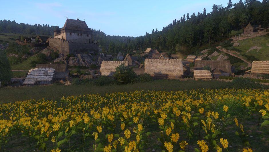 Countryside in Kingdom Come: Deliverance with a meadow full of yellow flowers