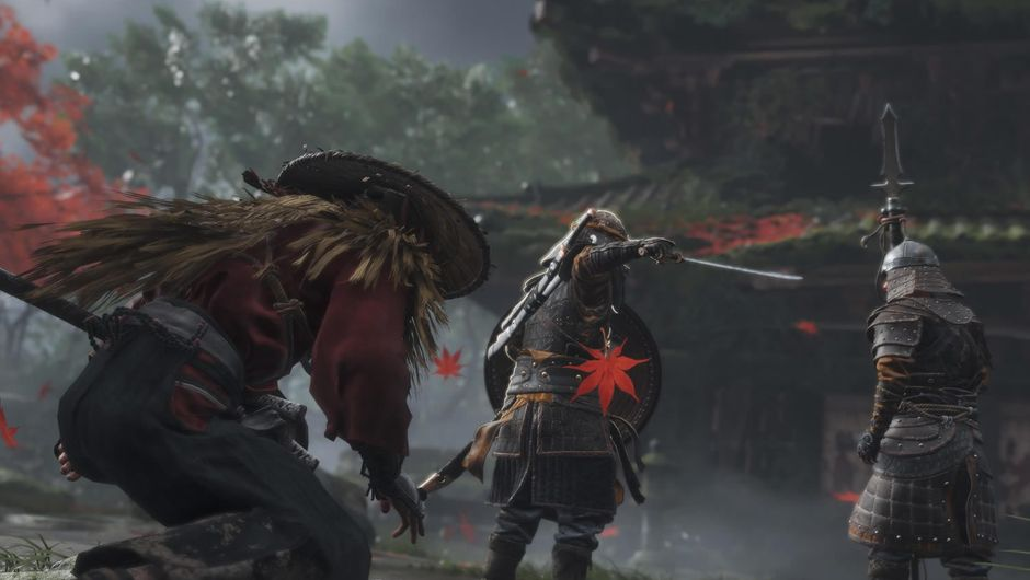 A samurai sneaking up behind a guard in Ghost of Tsushima