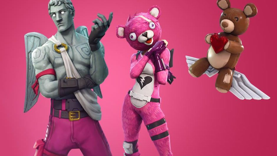 Valentine's Day themed skins from the game Fortnite