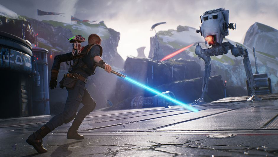 Cal and BD-1 facing off against an AT-ST in Star Wars Jedi: Fallen Order