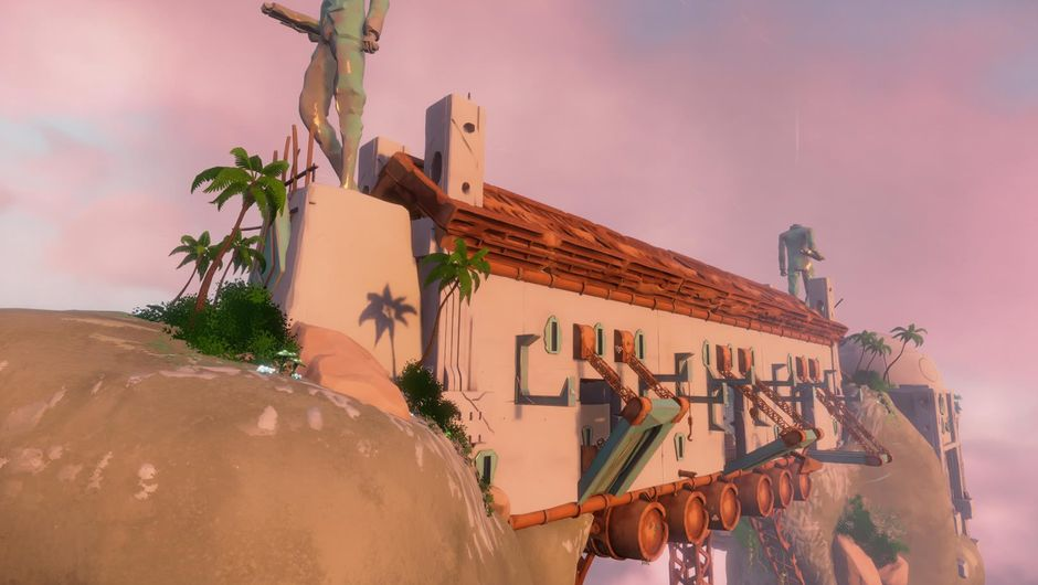 A large building on a hill in Bossa Studios' game Worlds Adrift