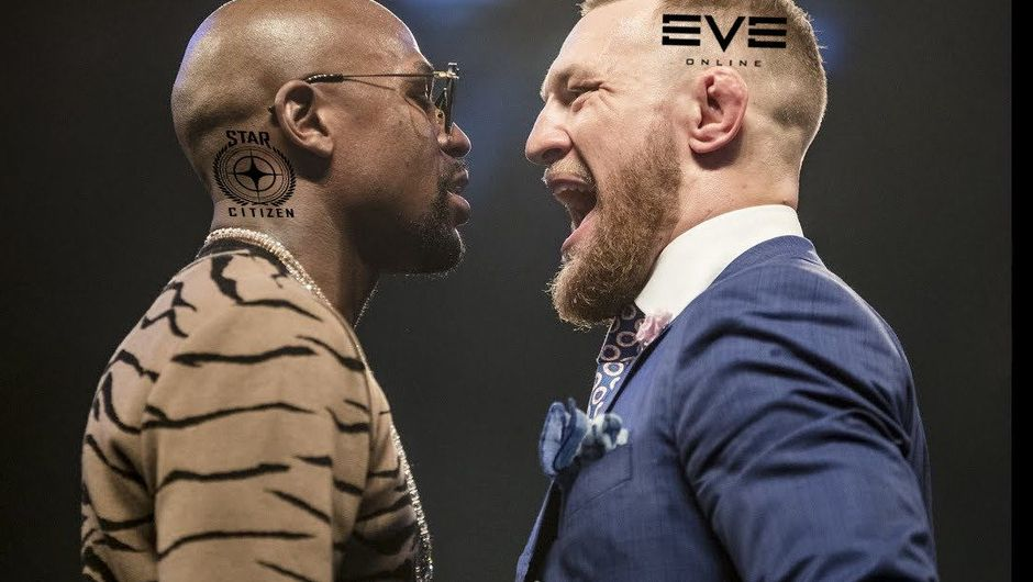 Spoof image of Mayweather vs McGregor made to represent EVE vs Star Citizen clash