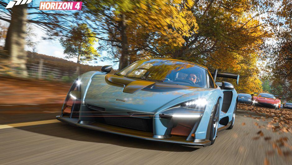 A blue McLaren car from the racing game Forza Horizon 4