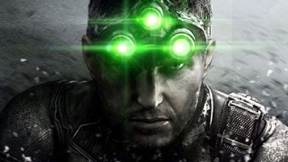 Close-up photo of Sam Fisher with his signature night vision goggles.