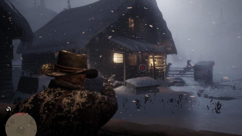 Arthur Morgan shooting his gun on a snowy night.