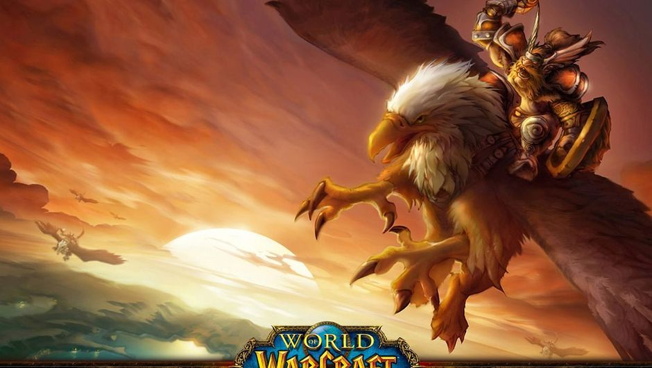Some dude is flying on a gryphon in World of Warcraft