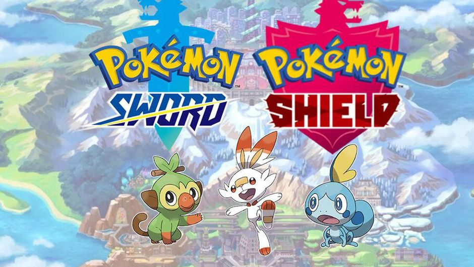 promo artwork showing pokemon sword and shield logos