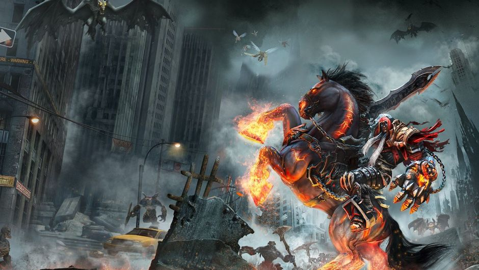 picture showing a character riding fire horse in ruined city