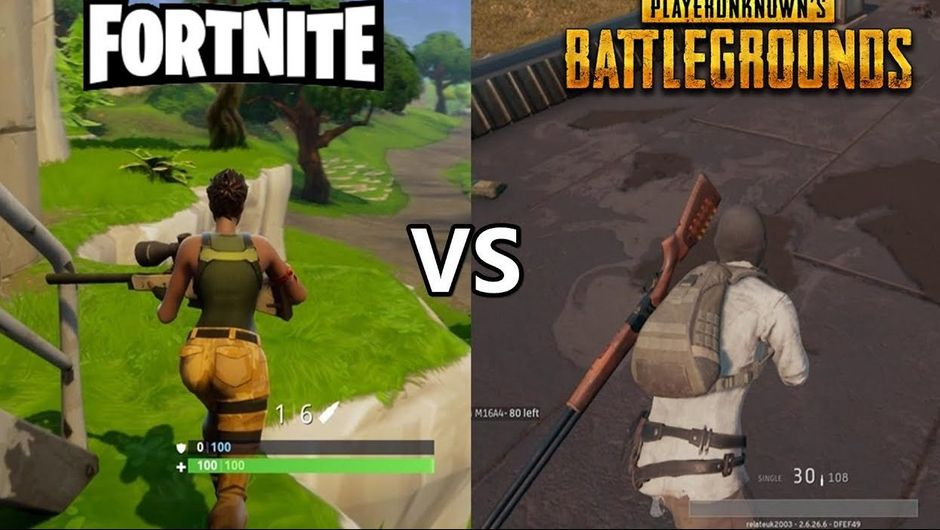 Side by side image of Fortnite and PUBG made in mock versus screen