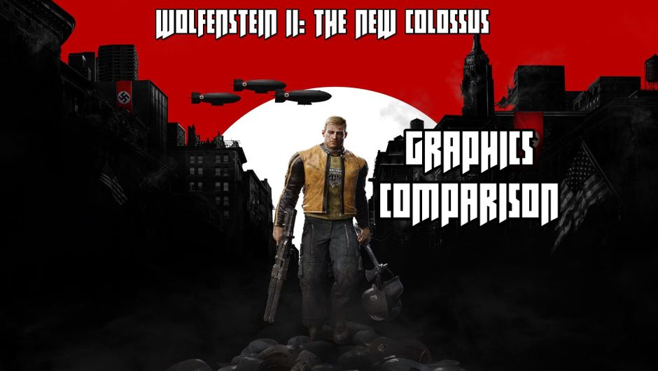 Game's protagonist standing in front of city ruins with Nazi flags in the background.