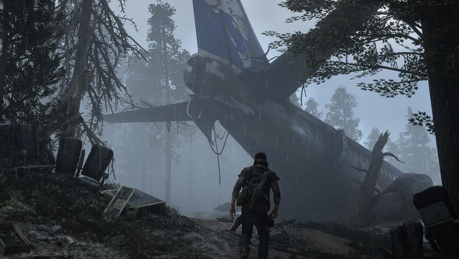 A man standing in the rain looking at crashed plane in Days Gone