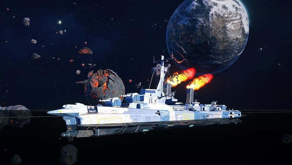 A ship in space resembling water faring battle ships
