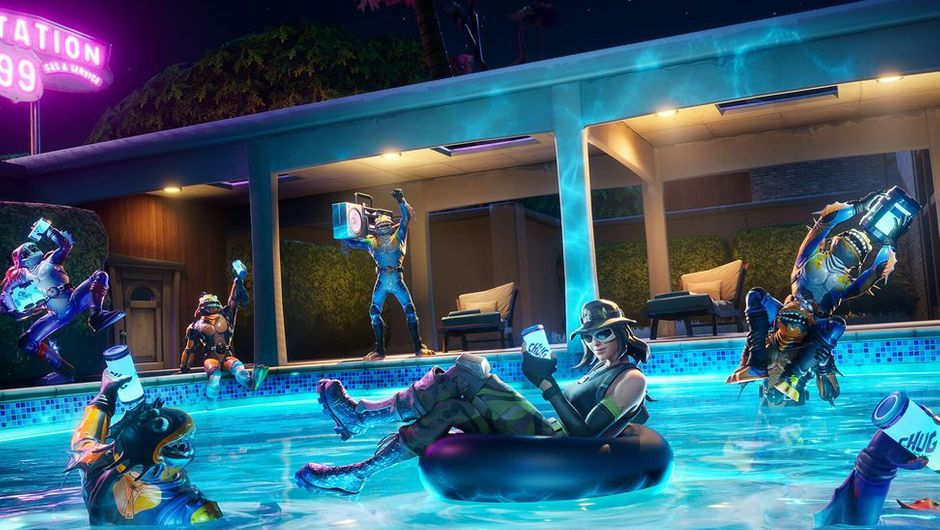 Fortnite artwork showing several characters having drinks in the pool
