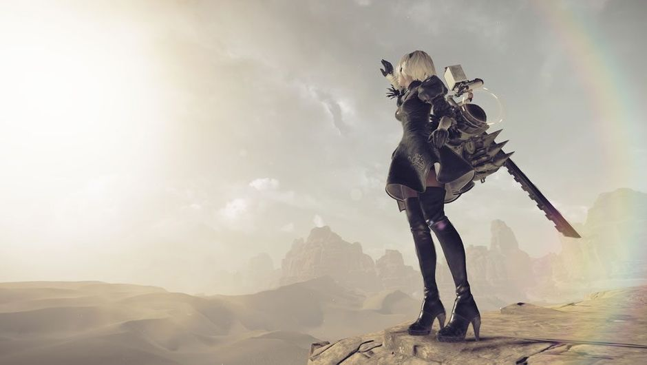 Screenshot from NieR: Automata showing one of the androids looking over a wasteland.